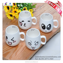 Best Selling Items Cheap White Ceramic Mugs With Expression Print OEM Service