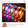 Fluorescent webbing in elastic dog collars with Led collar