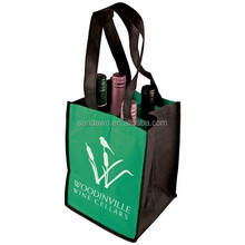 Unique Luxury custom gift packing bag,non woven wine bag,reinforced long handles wine bottle bag