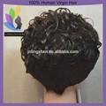 Cheap peluca de cabello humano de alta densidad corto peluca de cabello humano para las mujeres negras