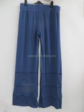 Ladies Women Navy Blue Cotton Ruffle Long Pants Fall Long Pants QL-172