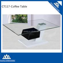 Cheap Coffee Table Glass Top Wood Base Coffee Table