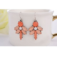 new arrival handmade orange bib bead crystal dangle earrings