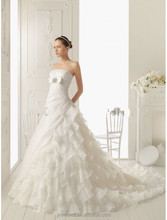 Elegant Strapless Off the Shoulder Sleeveless Tiered and Pleat Floor-Length A-Line with Chapel Train Beading Wedding Dress