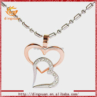 2015 latest crystal heart rose gold boy and girl charm pendant necklace
