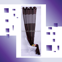 100% Polyester faux silk with crocheting connection window curtain