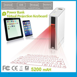 NEW gift market laser keyboard with 5200 mAh Power bank mouse bluetooth speaker function for iPad ,tablet pc ,smartphone