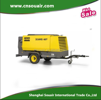 Atlas copco 8.6-14 bar 125-200 psig size 2 LP single axle oil-injected rotary screw portable compressor