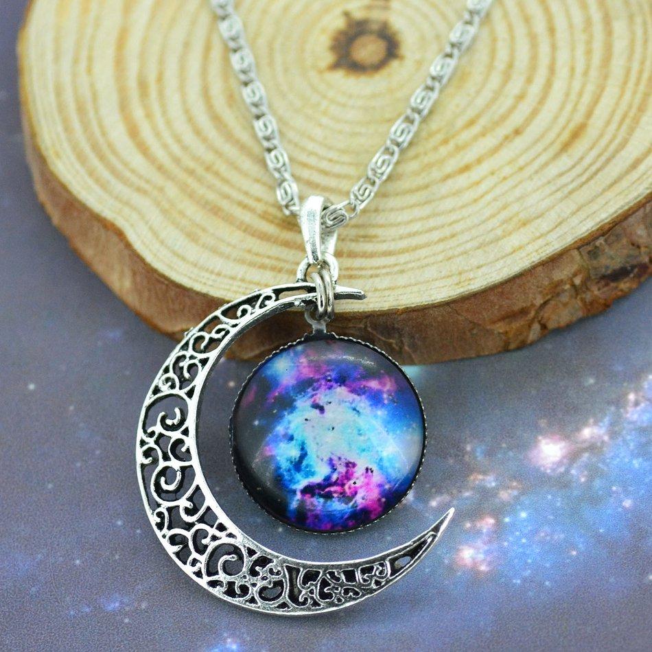 Galaxy moon surface universe space jewelry chakra