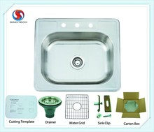 Above Counter and Rectangular bowl shape stainless steel sink