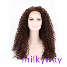 Top quality long afro kinky curly lace front wig&no lace wigs with baby hair bleached knots glueless synthetic lace front wig