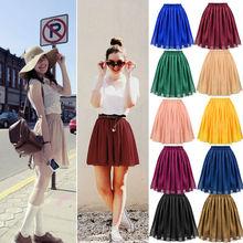nueva moda de la mujer de gasa plisada midi retro falda corta falda de cintura plisado falda a cuadros elástica 9 14449 colores