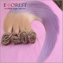 Virgin Brazilian Human Hair Clip in Hair Extensions Ombre Colored Two Tone #613T Purple Human Hair Extension