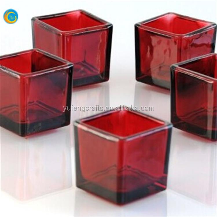 Cuadrados de vidrio esmerilado vela votiva soportes para velas ...