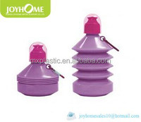 Hot sale 500ML 17OZ portable plastic collapsible water bottle with carabineer and cap