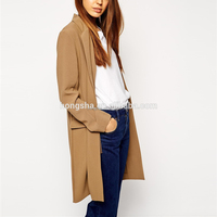Ladies Blazer Designs Longline Skinny Lapel Knee Length Brown Blazer Jacket Women HSC1435