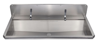 Stainless Steel Wash Trough with Tap Holes, Wall Mounted Wall Hung Stainless Steel Washing Trough for Commercial Use