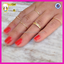 Fashion hot selling 925 sterling silver 14K gold plated thin ring cheap gold knuckle rings