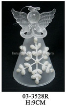 Hand Blown Elegant Chirstmas Hanging Frosted Glass Angel with White Lace
