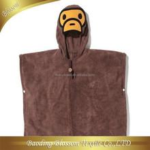 Fashion Comfortable Duck Cartoon Design Bathrobe 100% Velour Cotton Hooded Blanket HRM Terry Towel Baby Bathrobe