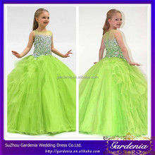 Latest Party Girl Children's Wear Sleeveless Beaded Stones Top Floor Length Princess Ball Gown Apple Green Flower Girl Dresses