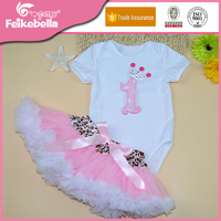 Hot Sale Infant Girl Summer Clothing Set Short Sleeve Cotton Bodysuit + Pink Frill Skirt Sweet Baby Girl Christening Outfits