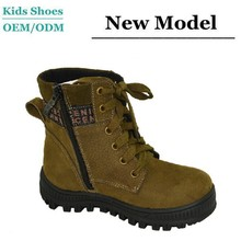 J-T0074 Sport Style Suede Leather Sunshine Handsome Boys Ankle Boots Kids High Cut Shoes