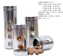 4 Pieces Stainless Steel with Glass Canister Set