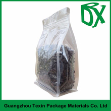 white laminated plastic ziplock bag for seed packing with flat bottom