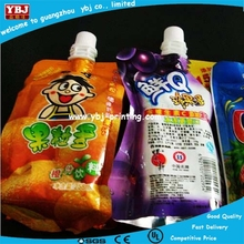 Irregular stand up spout pouch juice packaging bag / 2012 hot sales juice spout pouch