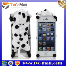 Dog Phone Case,Adorable 3D Black Dot White Dog Toy Stand Case Cover for iPhone 5
