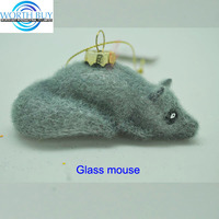 Artificial grey fur Christmas glass mouse ornament lying on the floor wholesale