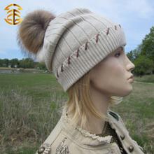 Latested mapache Fur pompones tejer sombreros de lana tejida a mano sombreros