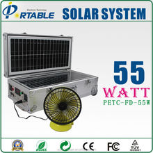 55W portable and home solar panel system with rechargeable fan and led lamp