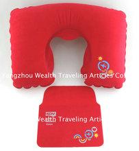 PVC flocking travel Inflatable neck pillow