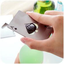 Acero inoxidable a estrenar Card Poker Ace de espadas barra de herramientas Soda cerveza botella abrelatas de casquillo regalo caliente de la venta
