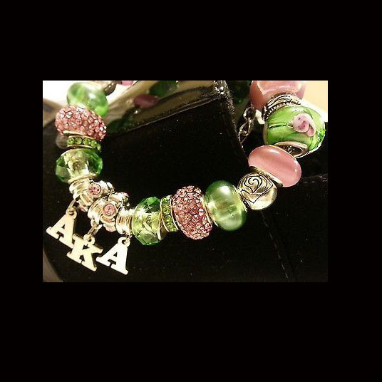 AKA Alpha Kappa Alpha Sorority Charm Bracelet - European Style - Pink and Green.jpg
