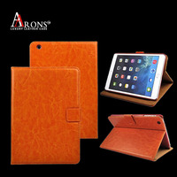 Wallet orange color fashion genuine leather case for ipad 5