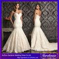 novia sirena de atrás abierta de marfil superposición de encaje las mujeres vestidos de cola de pescado vestido de novia vestido