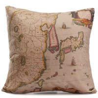 New Complex Map Print Cushion Cover Cotton Linen Pillowcase Home Office Decorative Pillow Case Retro Style For Car Styling