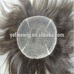 Silk Top Human Grey Hair Toupees For Old Men