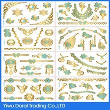 2015 Fashion water transfer printing golden blue jewelry 3D metallic tattoo sticker