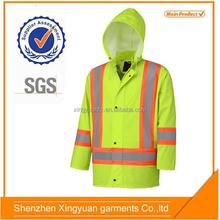 High visibility rain jacket reflective motorcycle men's pu jacket with PU/PVC