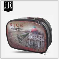 Fashion Beautiful glossy pvc cosmetic bag train case with zipper