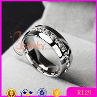 Fashion 316l stainless steel rings with diamond china wholesale alibaba 2015 Classic wedding Rings