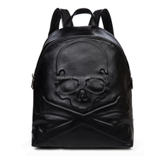 Skull fashion leisure leather men's backpack