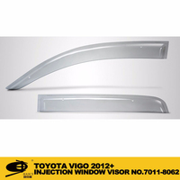 INJECTION DOOR VISOR FOR TOYOTA VIGO 2012+ Window Vent Visor Deflector Rain Guard (Dark Smoke) 4-pc Set