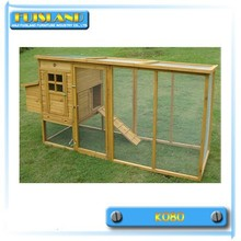 Wooden Hen House with Metal Tray and Run