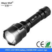 high quality rechargeable 350 lumen 5 watt led flashlight with custom logo