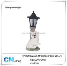 Polyresin garden solar lights dog garden ornaments dogs